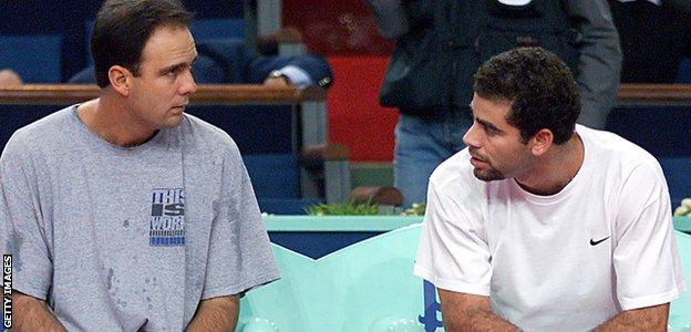 Paul Annacone and Pete Sampras at the 1998 Paris Open